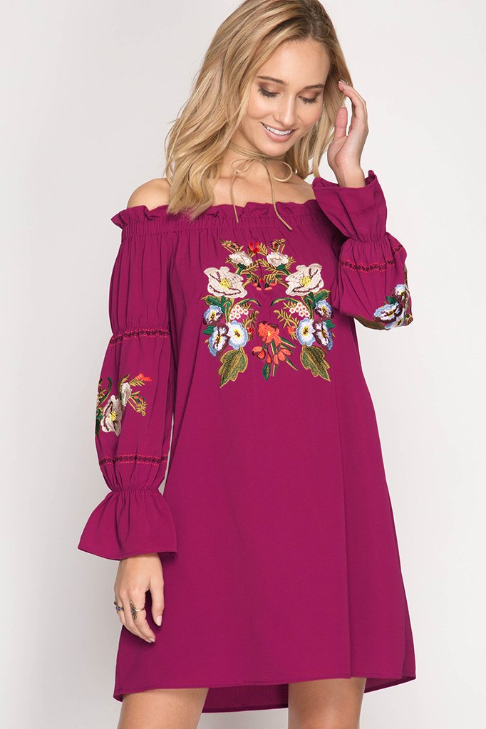 DRESS or TUNIC - Floral Shift MAGENTA