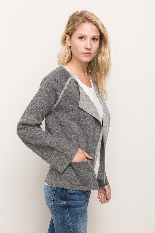 CARDIGAN -  Color Contrast Jacket * Women's