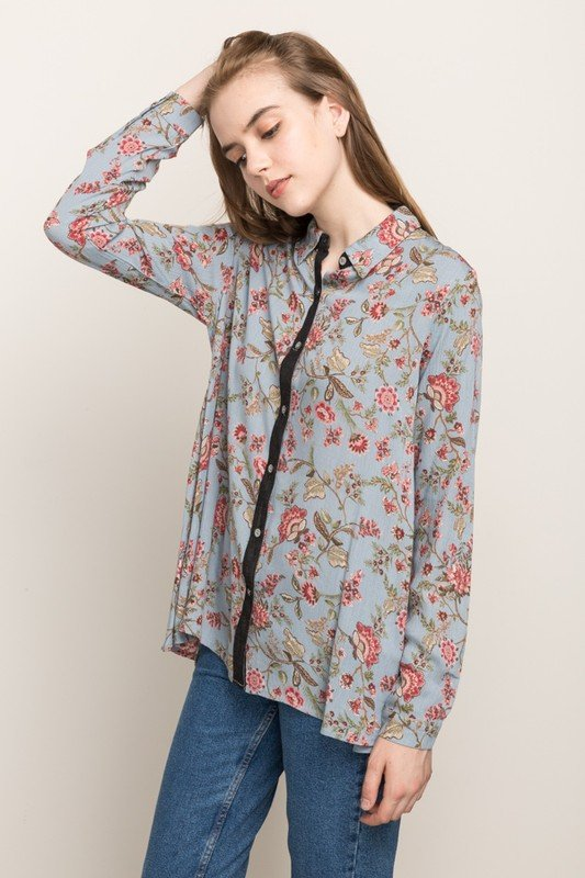MYSTREE Blouse - Floral Top Shirt * Womens