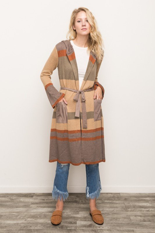 Cardigan * MYSTREE - Color Block Maxi Sweater * Womens