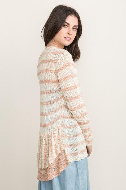 MYSTREE CARDIGAN -  Ruffle Peplum Sweater  * Womens