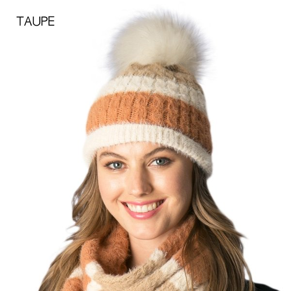 Faux Fur Pom Beanie Hat - TAUPE