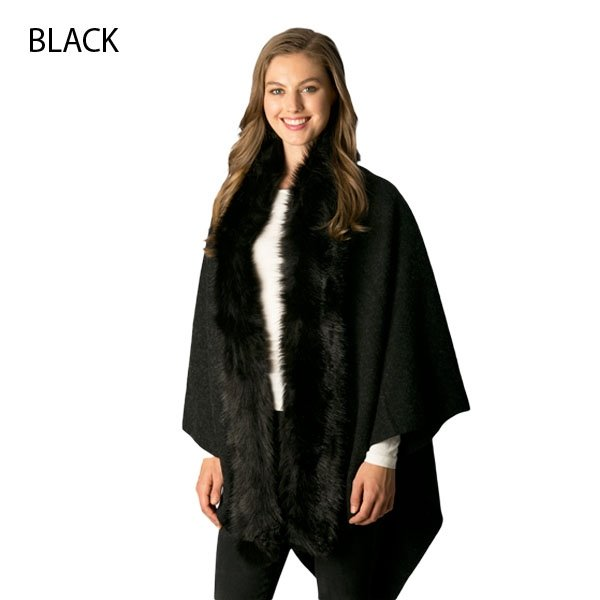 Vest - Faux Collared Cape Shawl BLACK