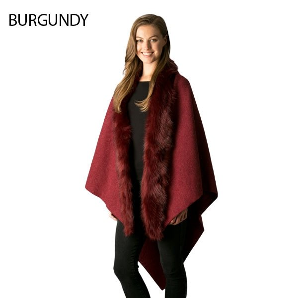 Vest - Faux Collared Cape Shawl BURGUNDY