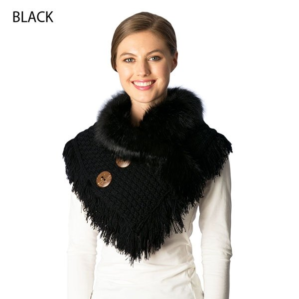 Neck Warmer - Knitted Faux Fur BLACK