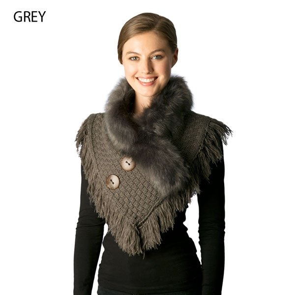 Neck Warmer - Knitted Faux Fur GREY