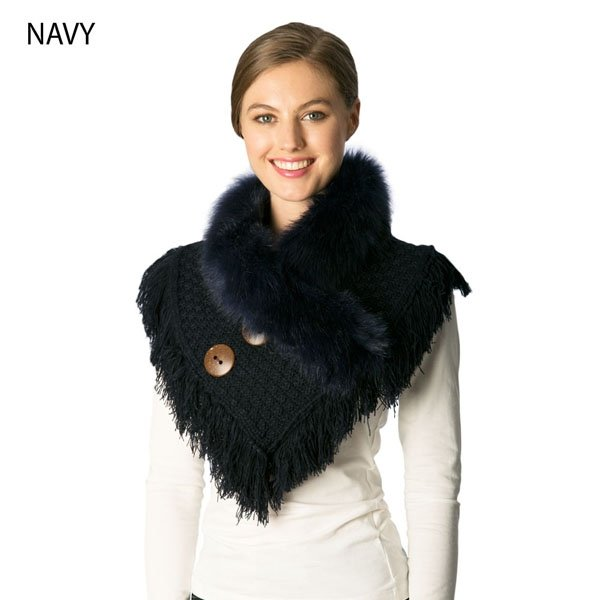 Neck Warmer - Knitted Faux Fur NAVY