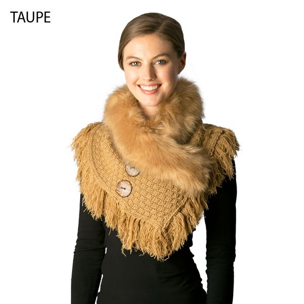 Neck Warmer - Knitted Faux Fur TAUPE
