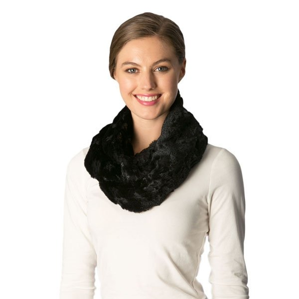 Faux Fur Flower Infinity BLACK