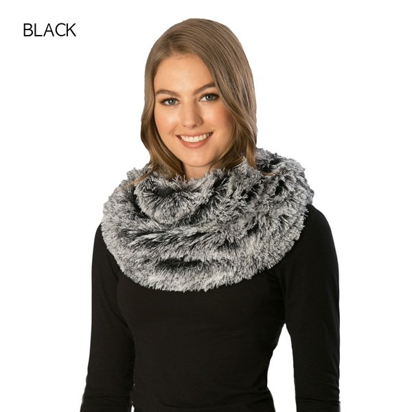 Faux Fur Shaggy Infinity BLACK