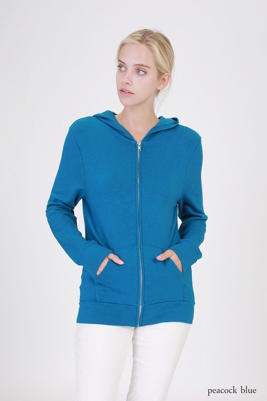 Hoodie - Zip Up PEACOCK BLUE * RAYON