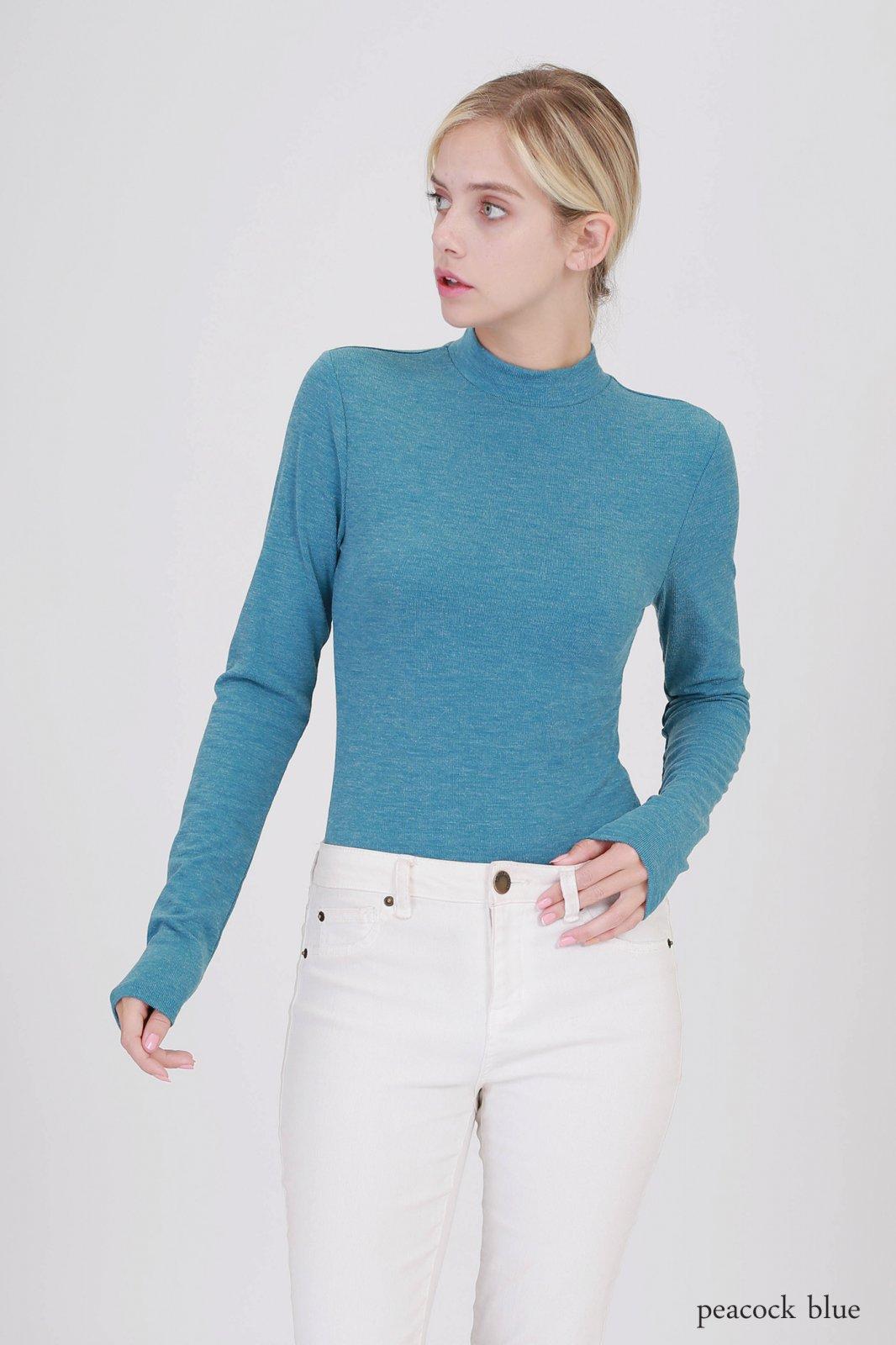 Bodysuit - Turtleneck Long Sleeve PEACOCK BLUE