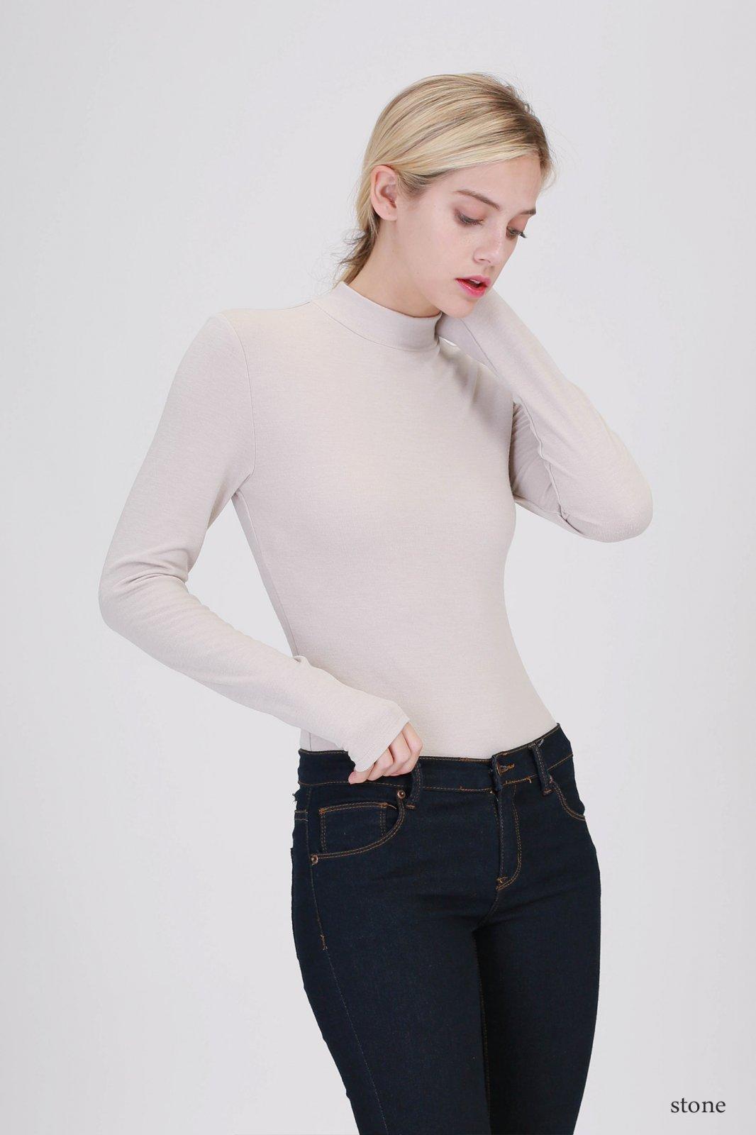 Bodysuit - Turtleneck Long Sleeve STONE