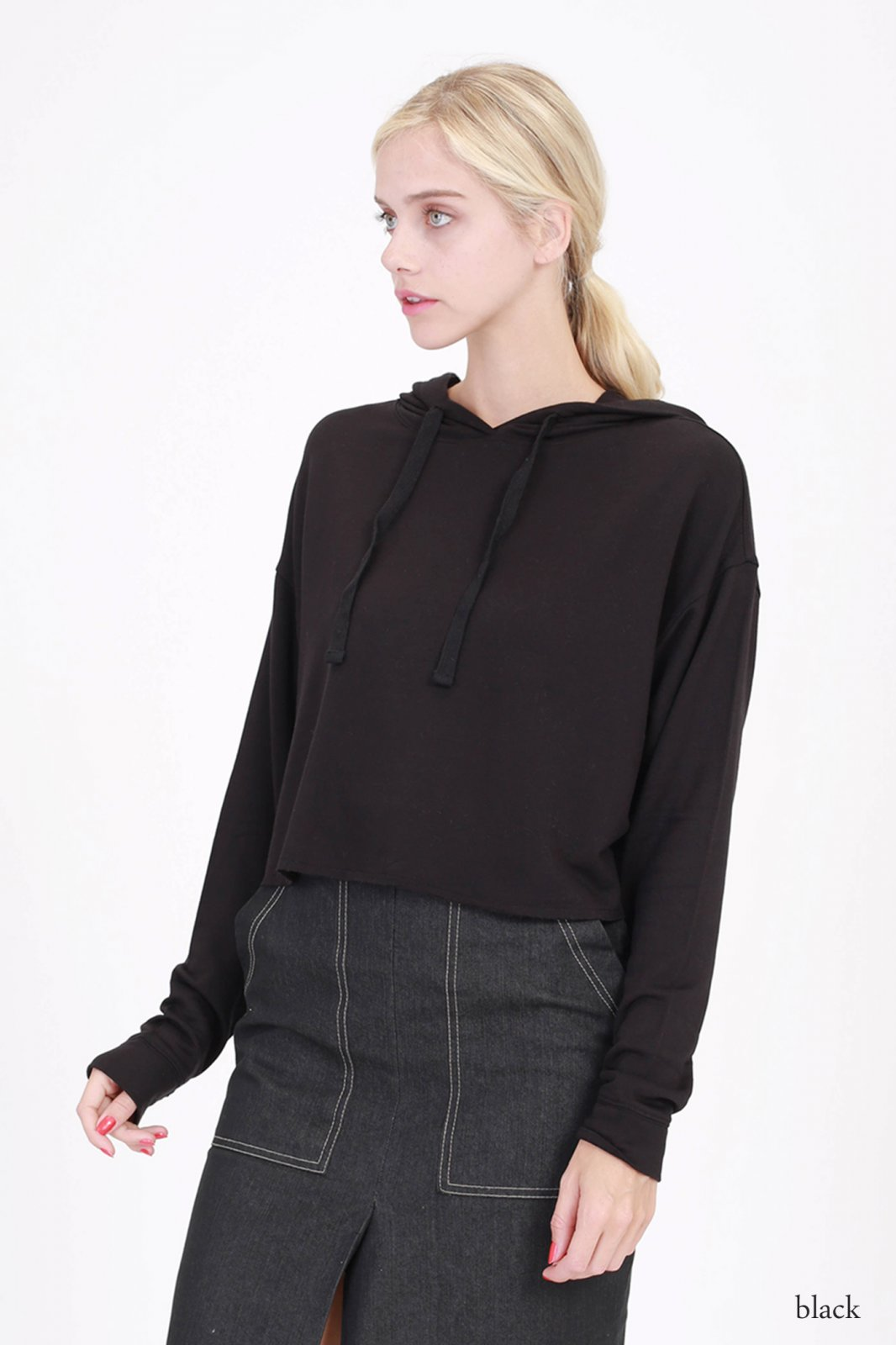 Crop Hoody - Fleece French Terry BLACK * RAYON