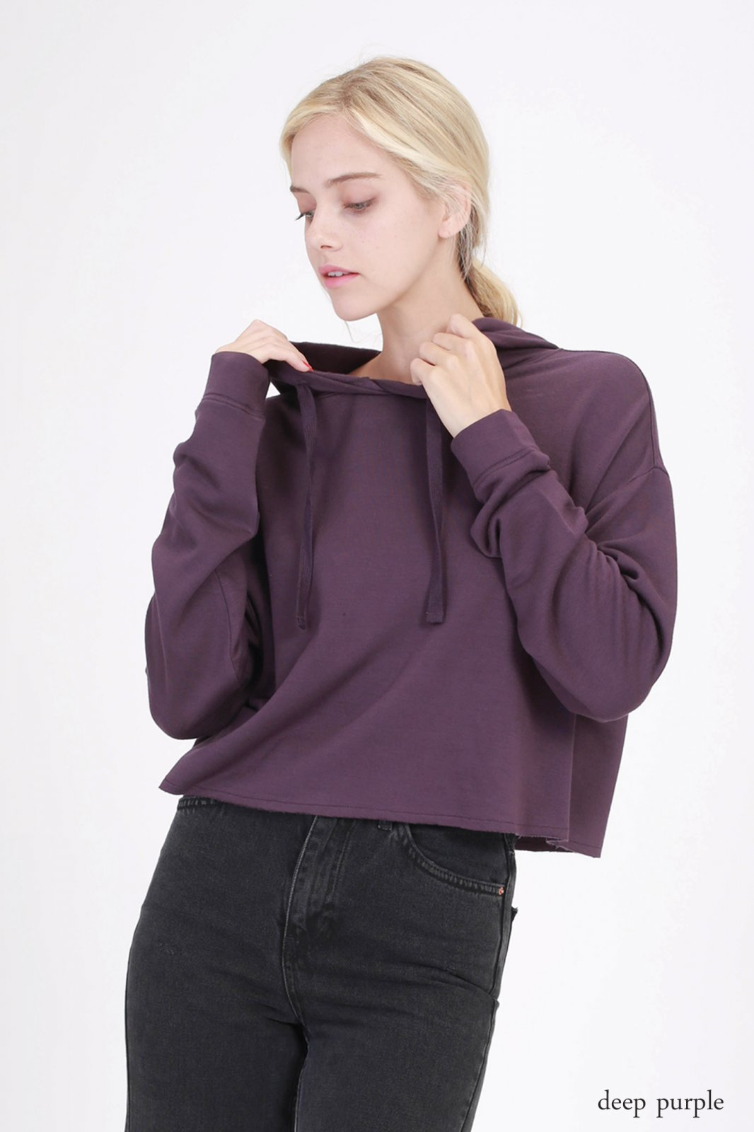 Crop Hoody - Fleece French Terry DEEP PURPLE * RAYON