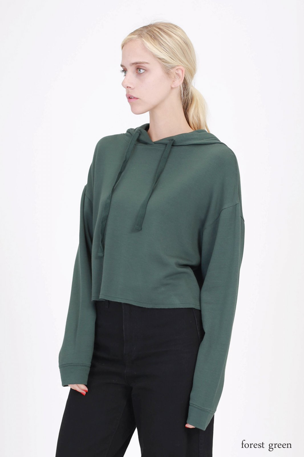 Crop Hoody - Fleece French Terry FOREST GREEN * RAYON
