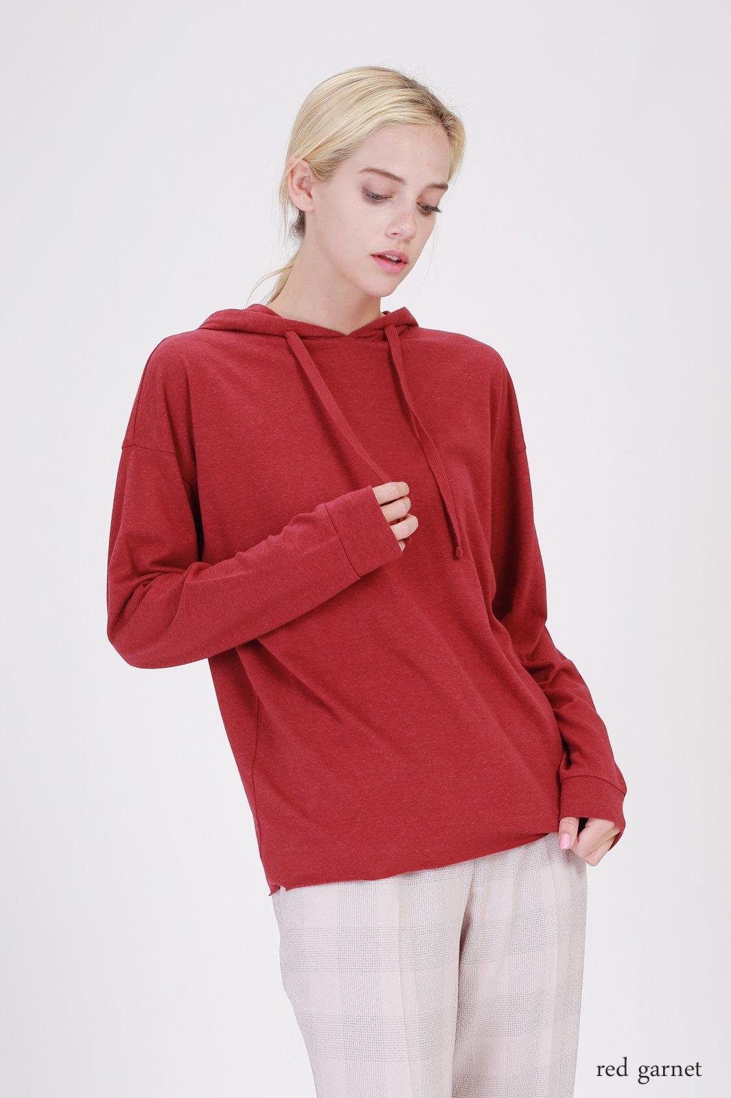 Hooded Top - Long Sleeve RED GARNET