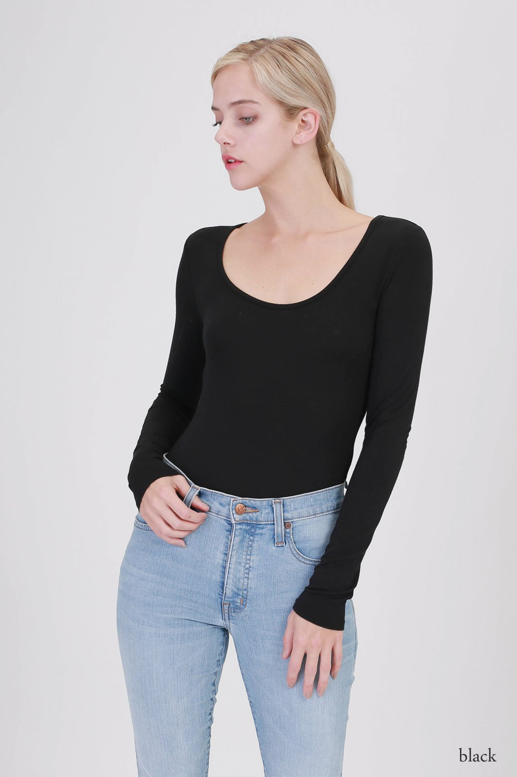 Bodysuit - Scoop Neck Long Sleeve BLACK * RAYON