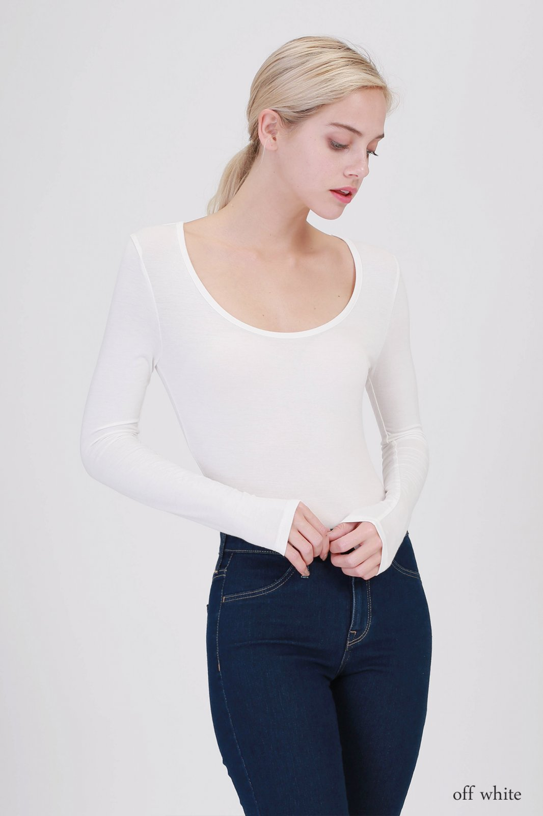 Bodysuit - Scoop Neck Long Sleeve OFF WHITE * RAYON