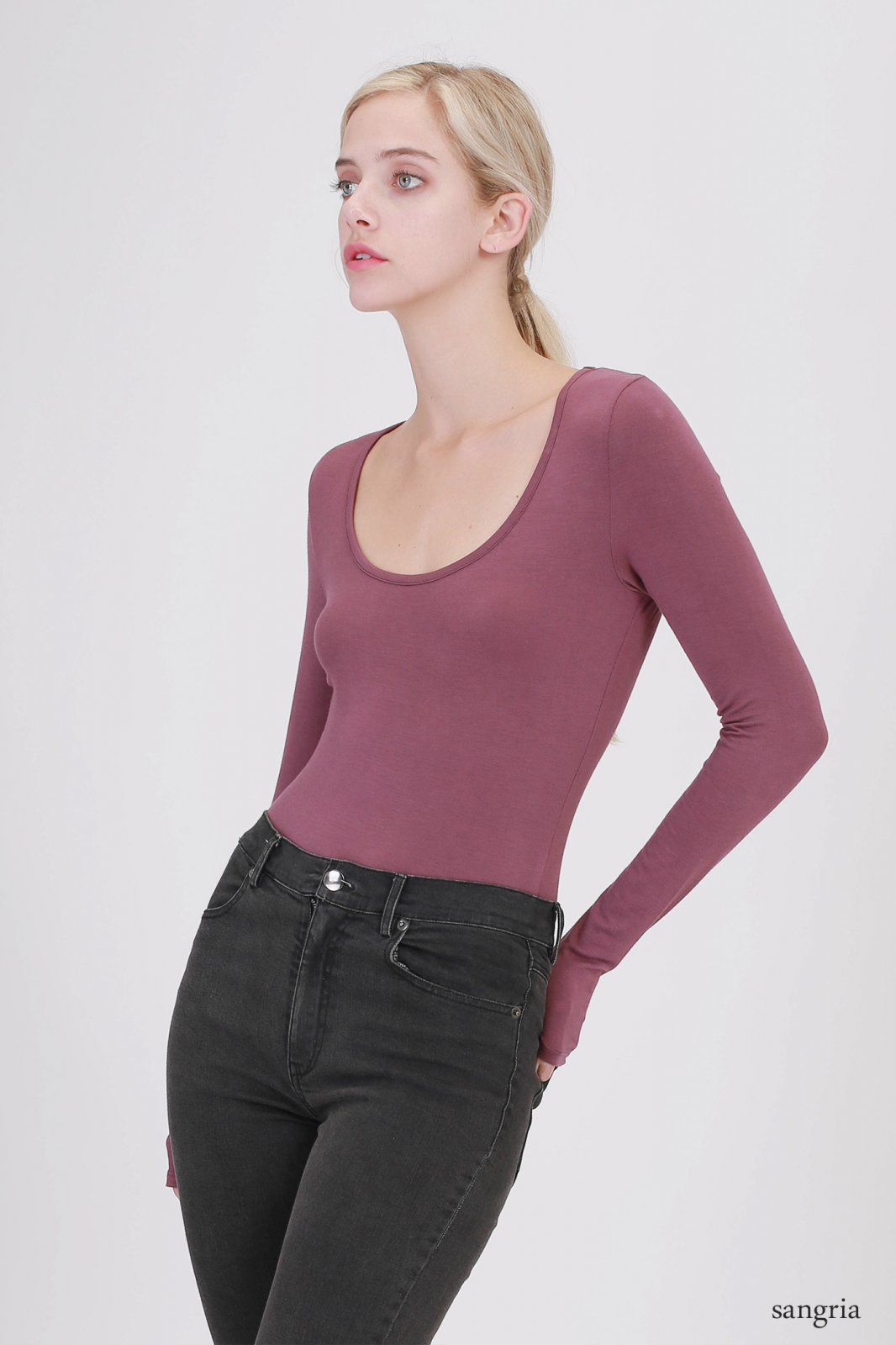 Bodysuit - Scoop Neck Long Sleeve SANGRIA * RAYON
