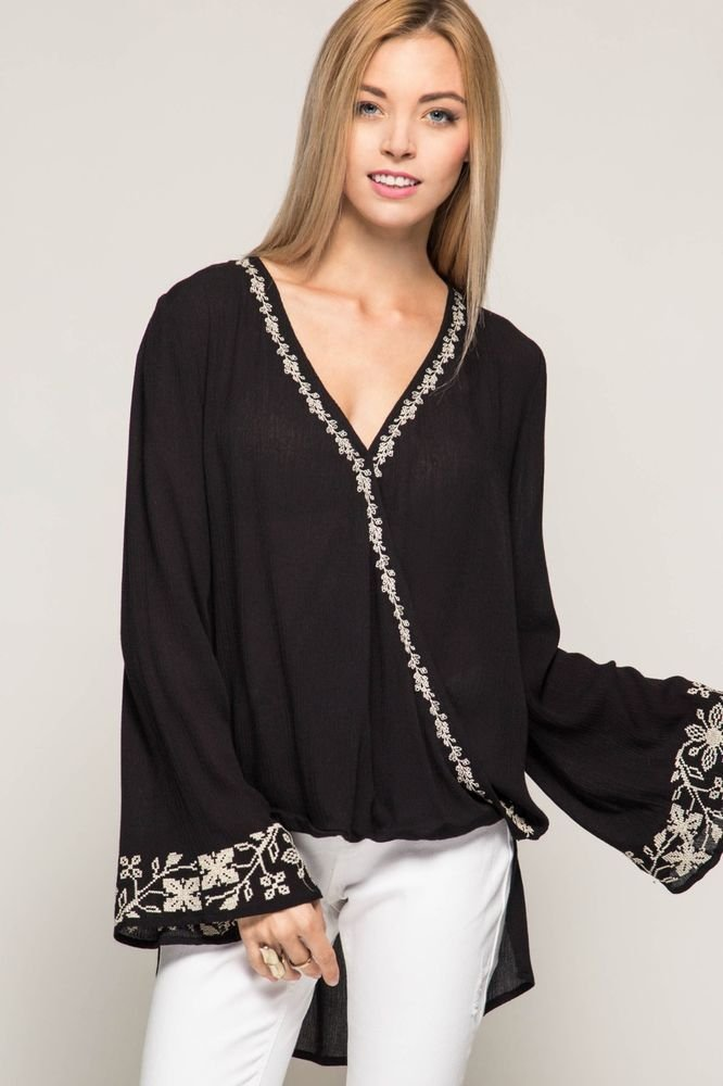 BLOUSE High Low Bell Sleeve BLACK