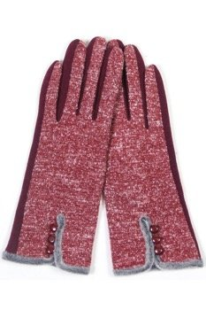 Faux Lined Touch Gloves BURGUNDY