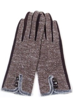 Faux Lined Touch Gloves COFFEE