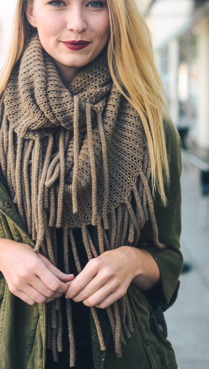 Tassel  Drop Infinity Knit Scarf - TAUPE