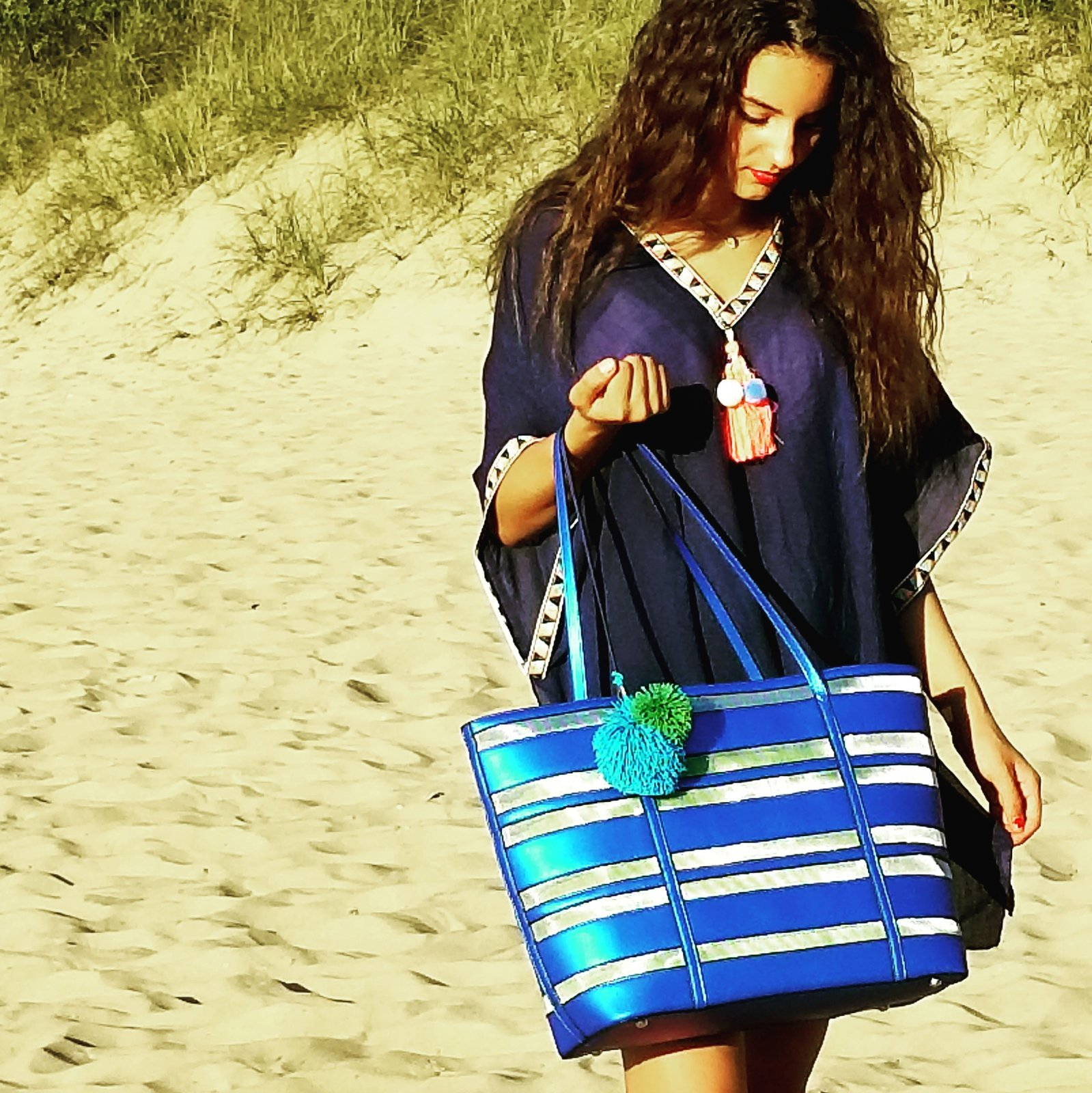 Poncho Beach - Pom-Pom NAVY Tassel Poncho * RESORT WEAR OS