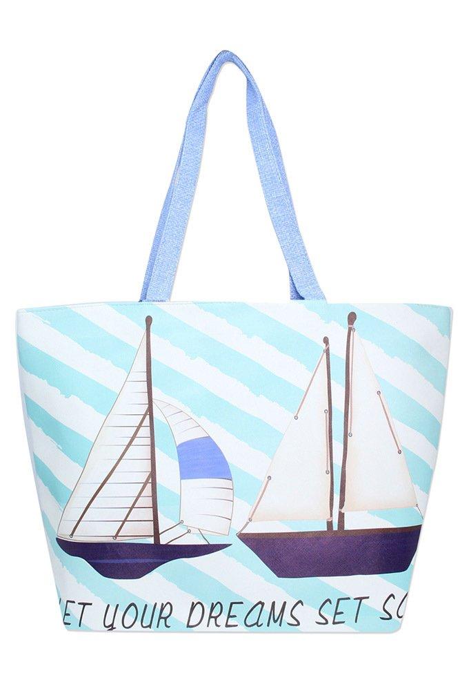 Beach Bag -  Sailboats * Vegan Product
