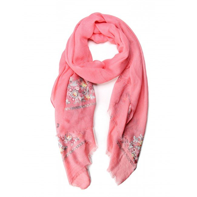 Coral Paisley Scarf - Oblong