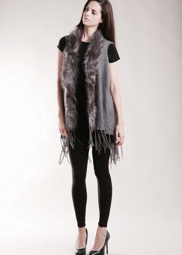 Vest - Tassel Vest with Fur Collar GREY
