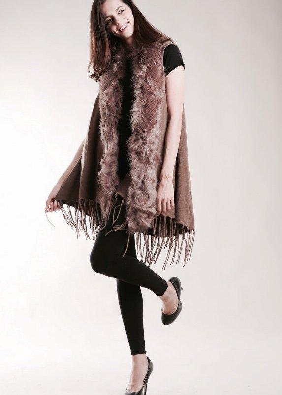 Vest - Tassel Vest with Fur Collar TAUPE