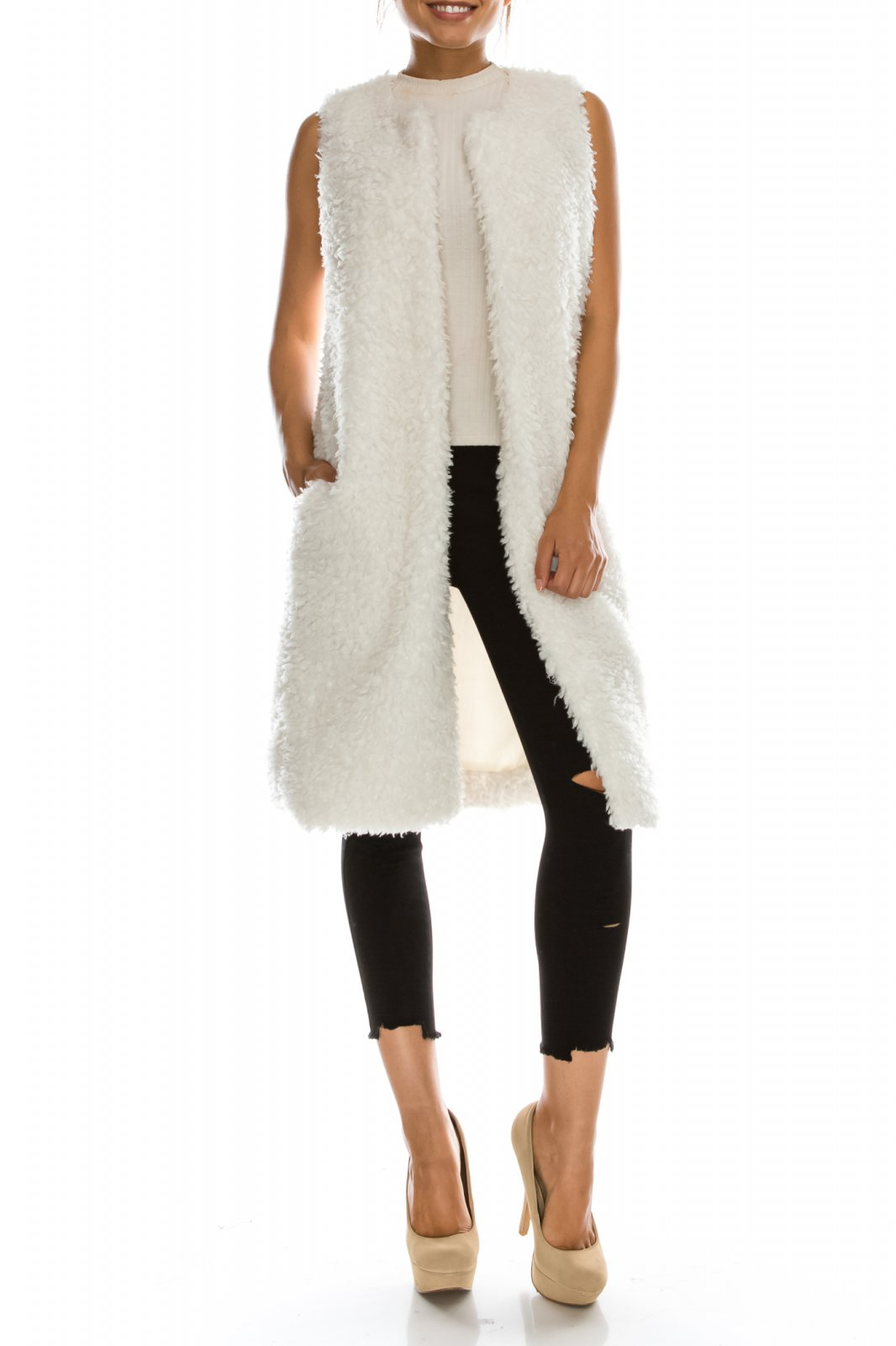 Jacket - Long Sherpa Vest OFF WHITE