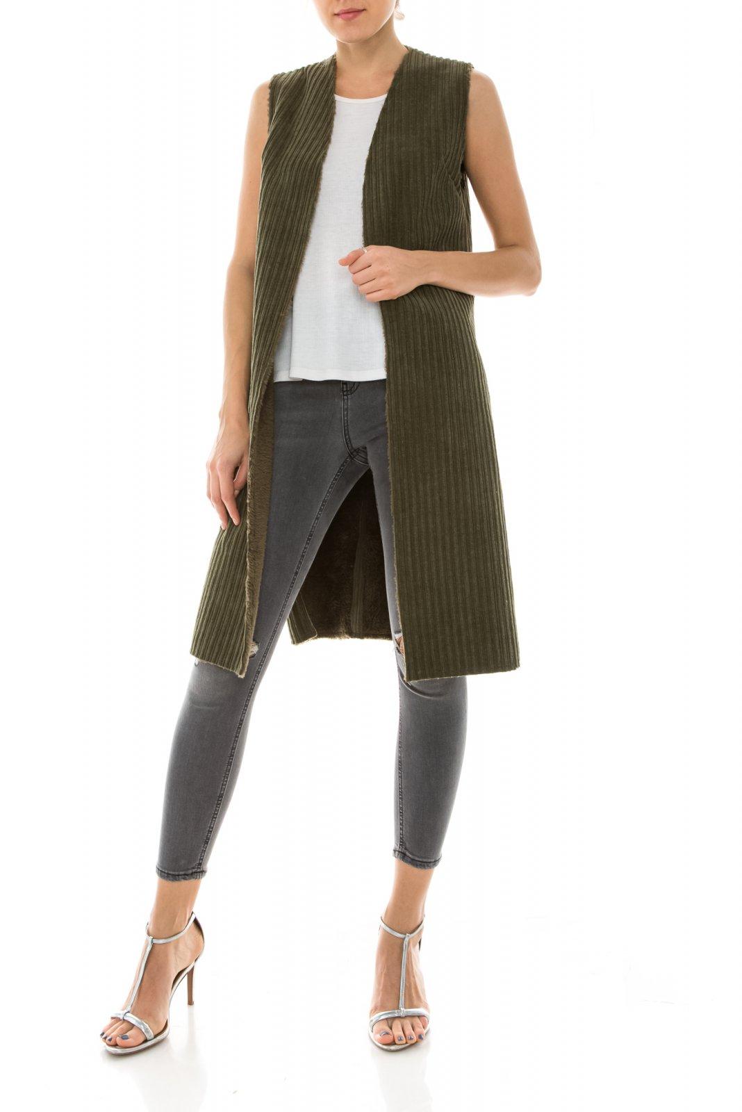Jacket - Long Sherpa Vest OLIVE