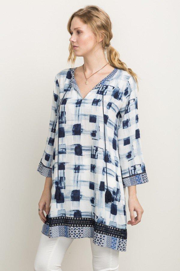 MYSTREE DRESS -  Navy Print Shift Dress / Tunic * Womens