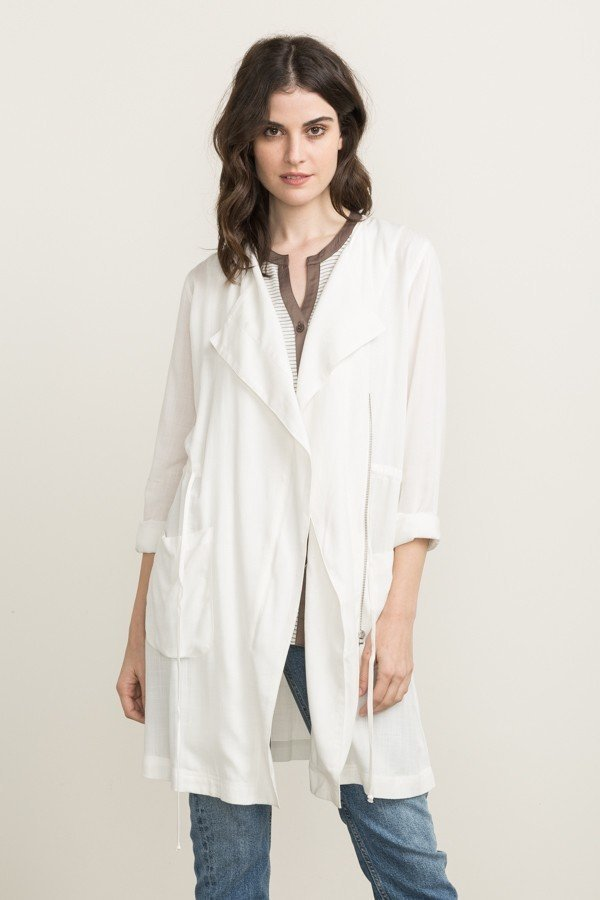 MYSTREE Jacket - White Lite Trench * RAYON