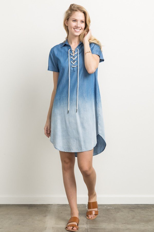 MYSTREE Dress - Ombre Denim (Tencel) * Womens