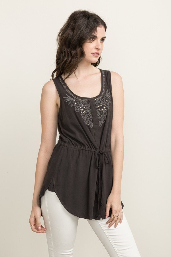 MYSTREE Top - Charcoal Embellished Vest * Women's
