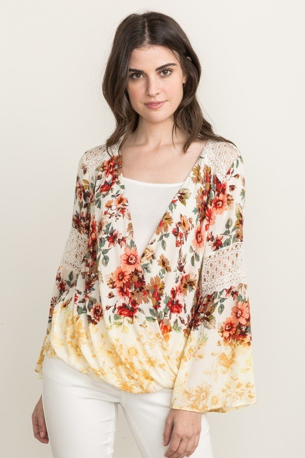MYSTREE Blouse - Flower Printed Top * Womens