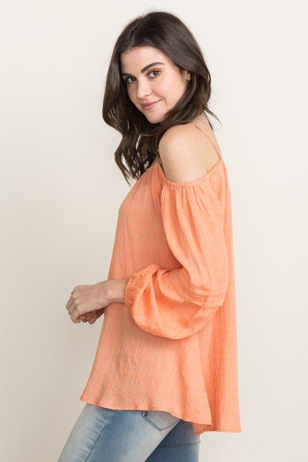 MYSTREE Boho Top -  Tangerine Off Shoulder Blouse  * WOMEN