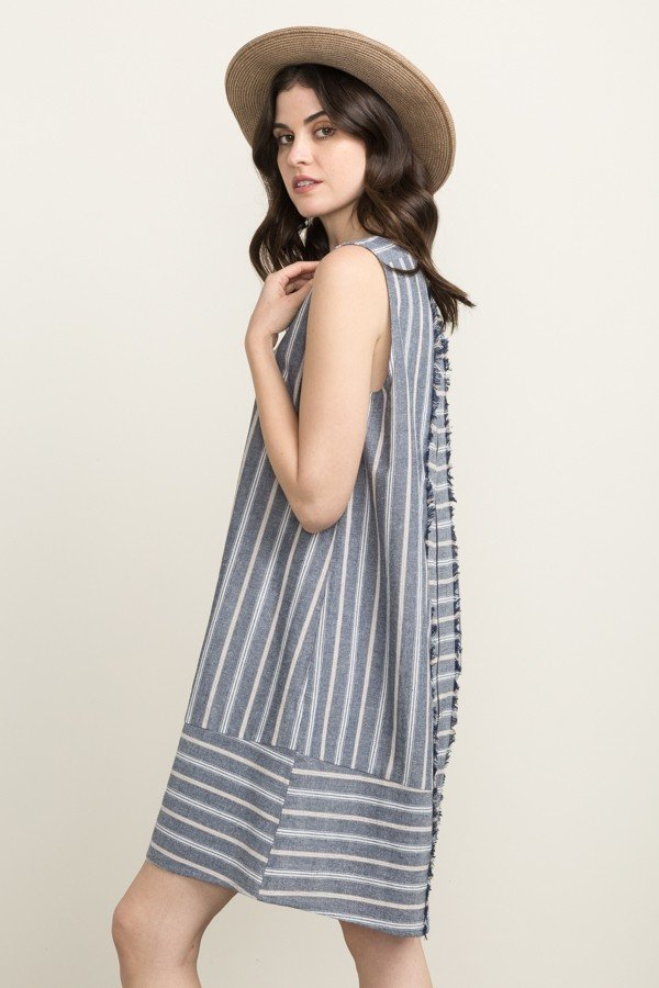 MYSTREE Dress -  Stripe Zipper Back * Womens