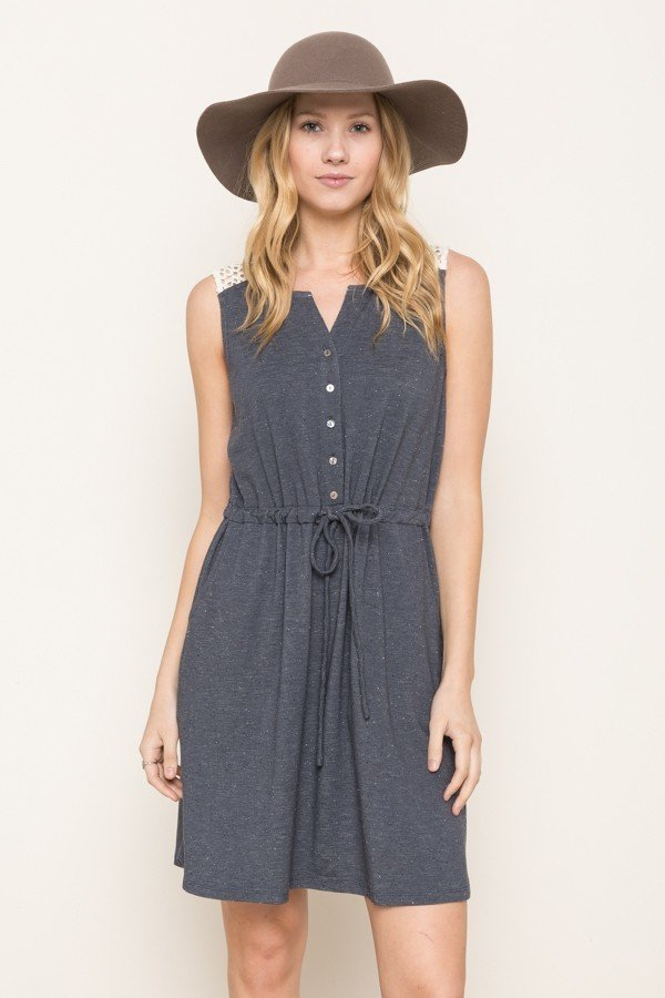 MYSTREE Dress -  Indigo Knit Cinched Waist * Womens