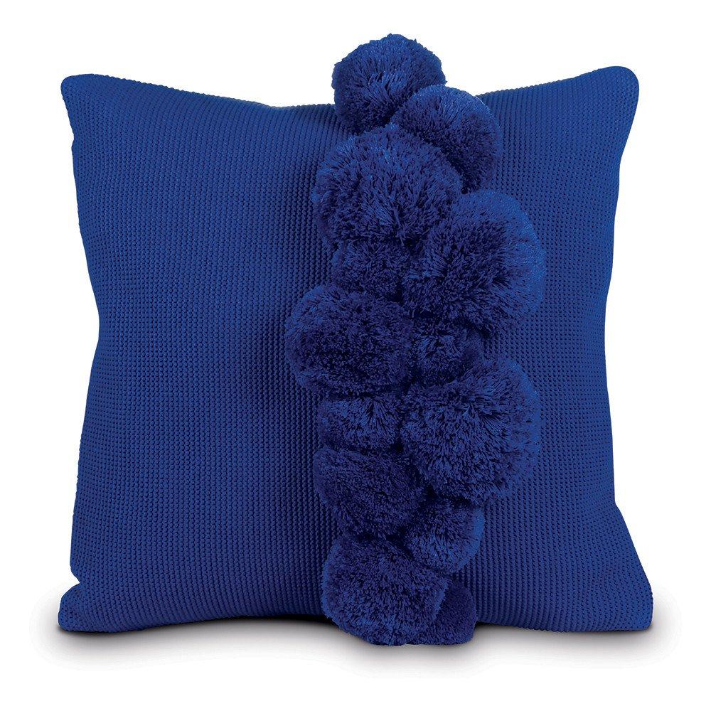 Knit Pom Pillow - Cobalt Blue