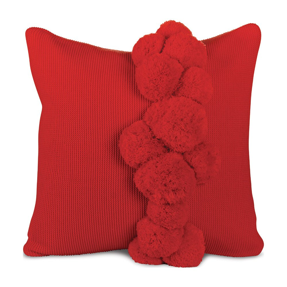 Knit Pom Pillow - Red