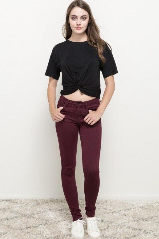 DENIM MYSTREE - Wine Skinny Jeans