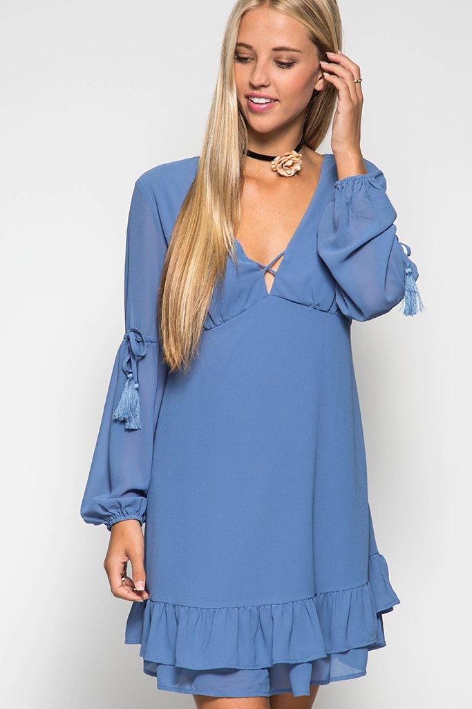 DRESS  -  Tassel Tie TRUE BLUE * Jr / Ms / Adult PT
