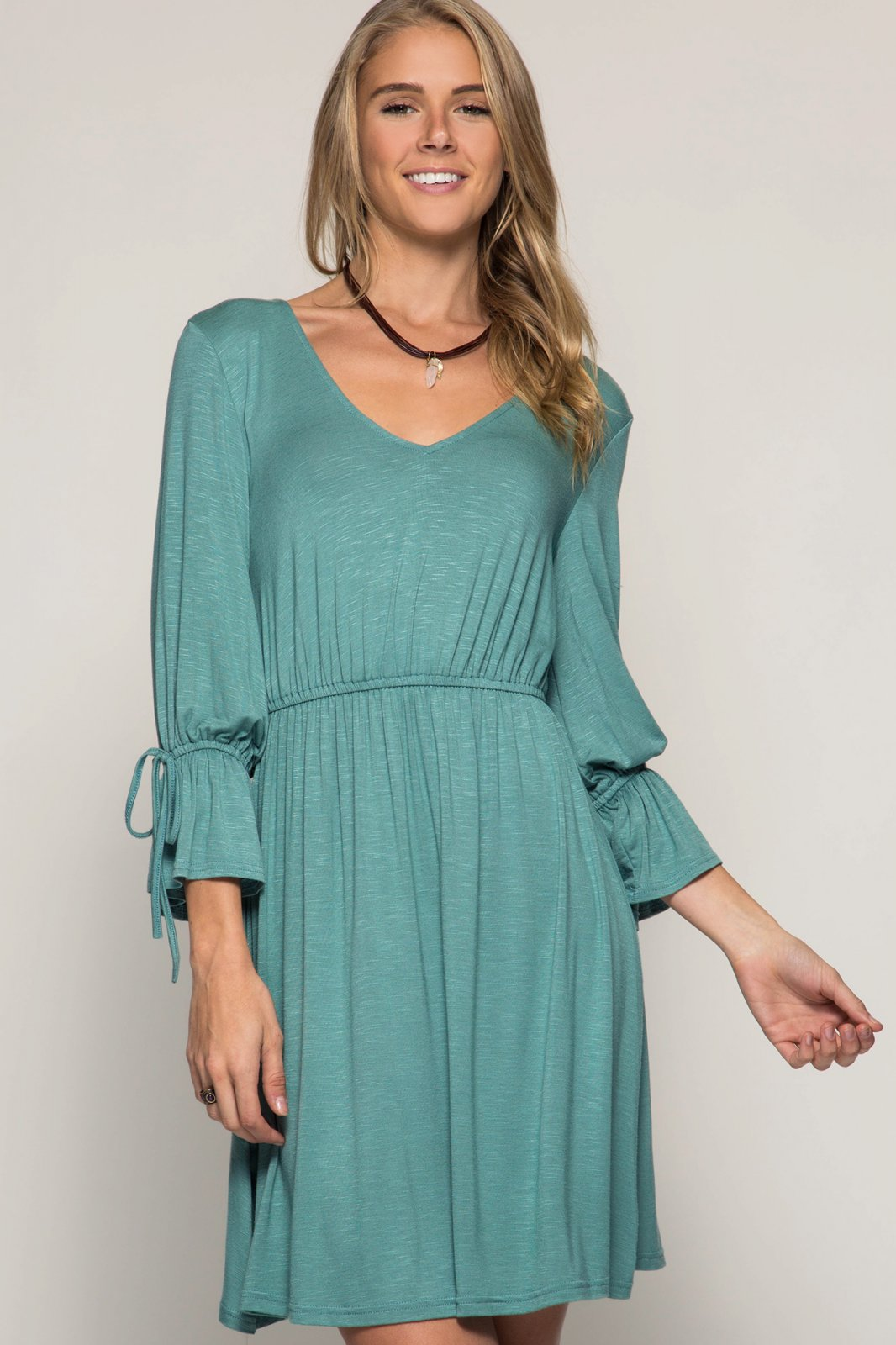 DRESS or TUNIC - 3/4 Sleeve SLATE GREEN * RAYON