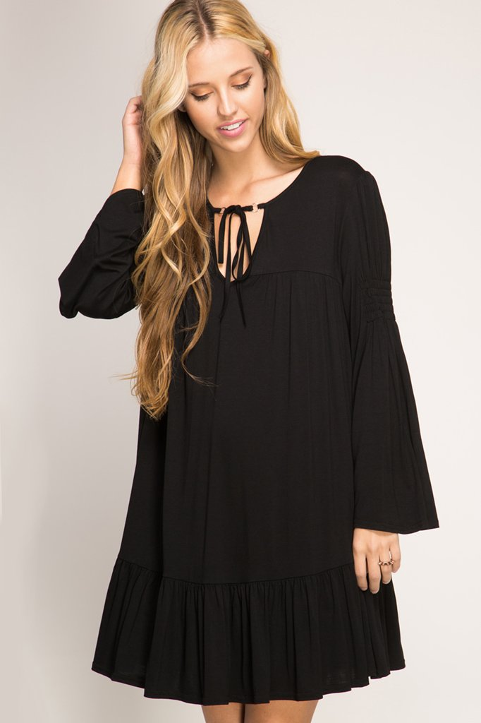 DRESS or TUNIC - Keyhole with Tie BLACK * RAYON
