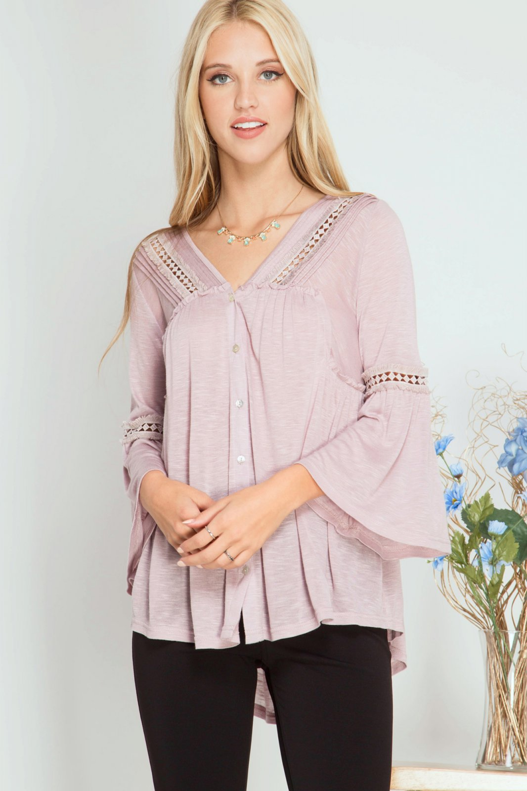 BLOUSE 3/4 Bell Sleeve LIGHT MAUVE * RAYON
